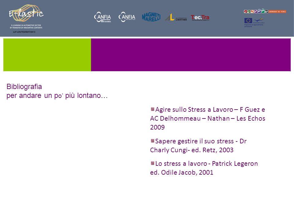 Bibliografia per andare un p o più lontano… Agire sullo Stress a Lavoro – F Guez e AC Delhommeau – Nathan – Les Echos 2009 Sapere gestire il suo stres