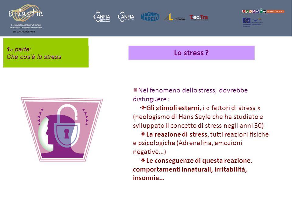 1 a parte: Che cosè lo stress Lo stress ? Nel fenomeno dello stress, dovrebbe distinguere : Gli stimoli esterni, i « fattori di stress » (neologismo d