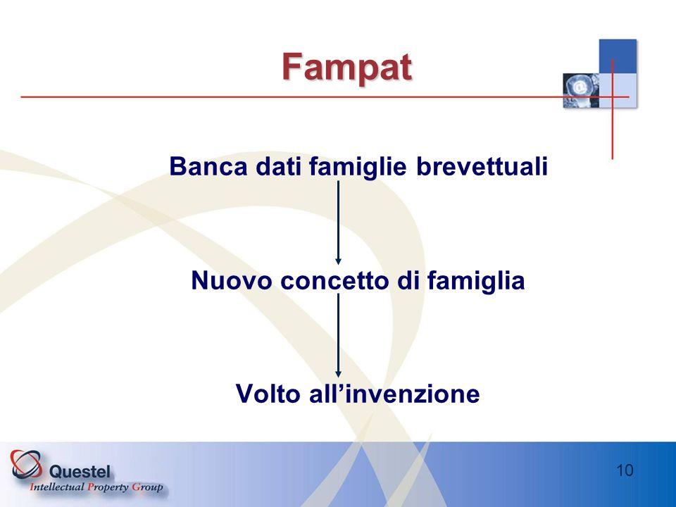 10 Fampat Banca dati famiglie brevettuali Nuovo concetto di famiglia Volto allinvenzione