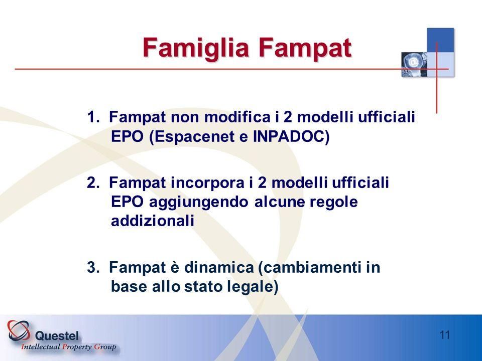 11 Famiglia Fampat 1. Fampat non modifica i 2 modelli ufficiali EPO (Espacenet e INPADOC) 2. Fampat incorpora i 2 modelli ufficiali EPO aggiungendo al