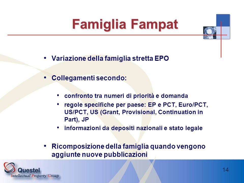 14 Famiglia Fampat Variazione della famiglia stretta EPO Collegamenti secondo: confronto tra numeri di priorità e domanda regole specifiche per paese: