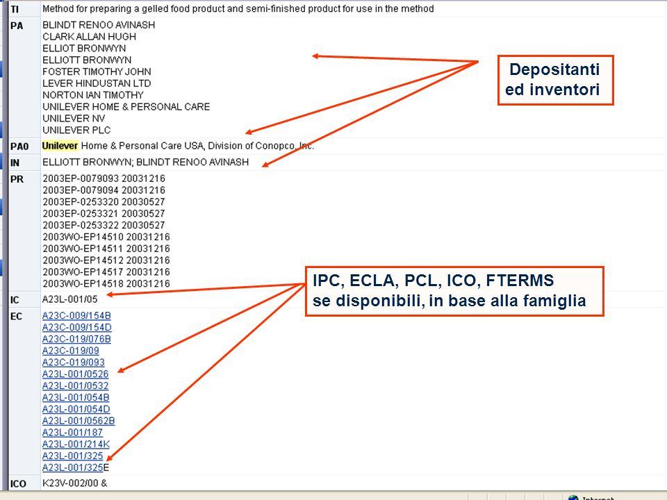 19 Depositanti ed inventori IPC, ECLA, PCL, ICO, FTERMS se disponibili, in base alla famiglia
