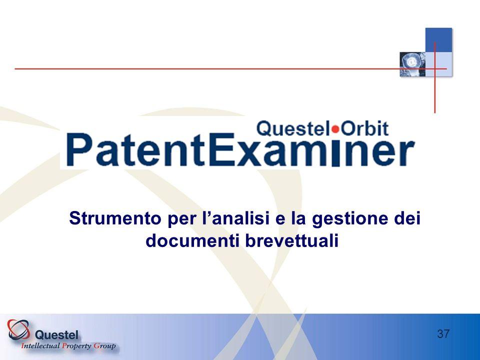 37 Strumento per lanalisi e la gestione dei documenti brevettuali