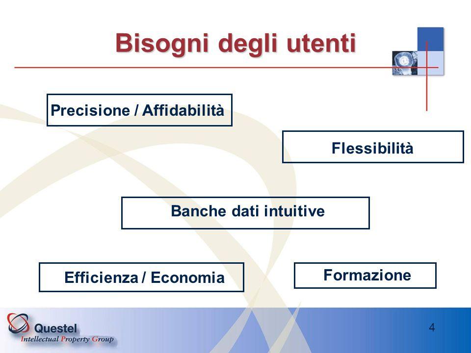 4 Banche dati intuitive Bisogni degli utenti Precisione / Affidabilità Flessibilità Efficienza / Economia Formazione