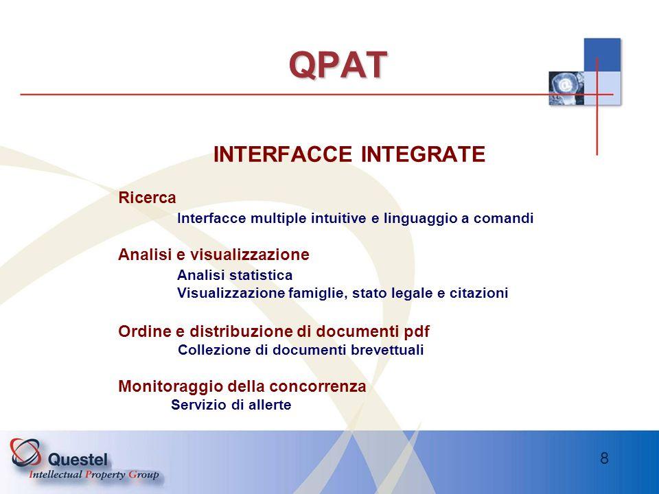 8 QPAT INTERFACCE INTEGRATE Ricerca Interfacce multiple intuitive e linguaggio a comandi Analisi e visualizzazione Analisi statistica Visualizzazione