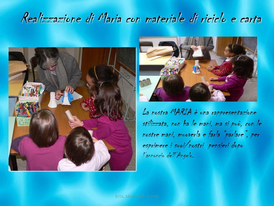 Realizzazione di Maria con materiale di riciclo e carta La nostra MARIA è una rappresentazione stilizzata, non ha le mani, ma si può, con le nostre ma
