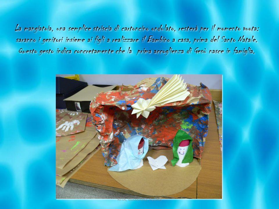 La mangiatoia, una semplice striscia di cartoncino ondulato, resterà per il momento vuota: saranno i genitori insieme ai figli a realizzare il Bambino