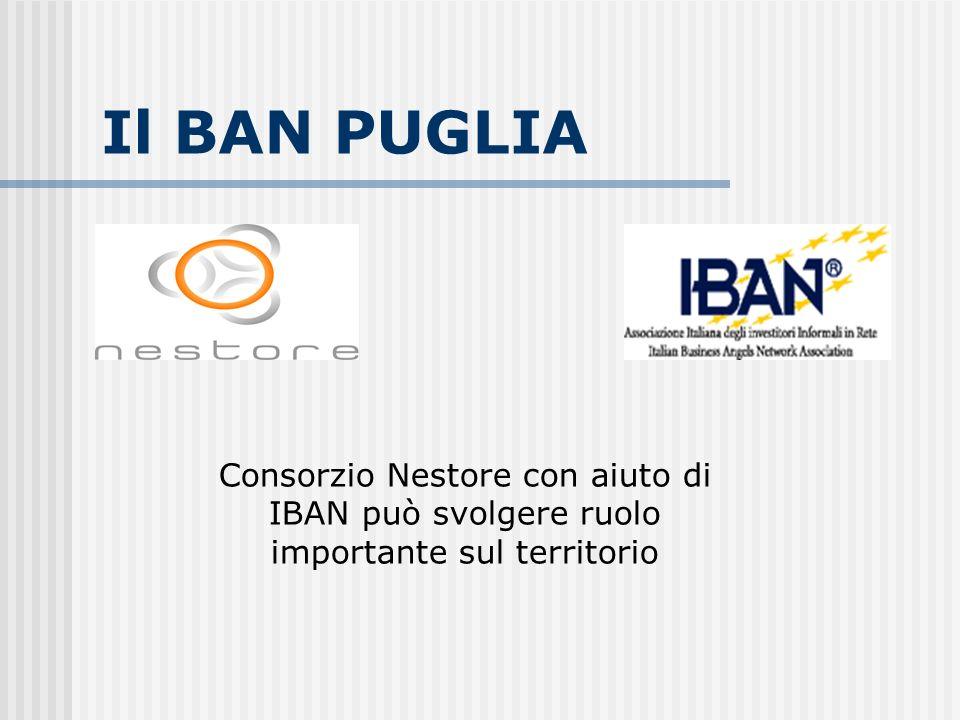 Azioni del BAN Puglia Individuare e selezionare i progetti e i Business Angels Animare un Club locale di Angel Investors Assistere con strumenti finanziari adatti lo sviluppo delle iniziative più promettenti Individuare e gestire nuove azioni di intervento tipiche per le zone del Mezzogiorno