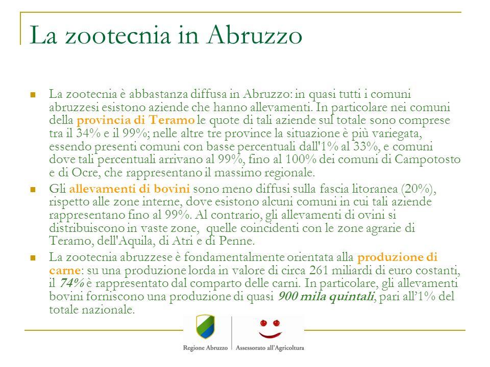 La zootecnia in Abruzzo La zootecnia è abbastanza diffusa in Abruzzo: in quasi tutti i comuni abruzzesi esistono aziende che hanno allevamenti. In par