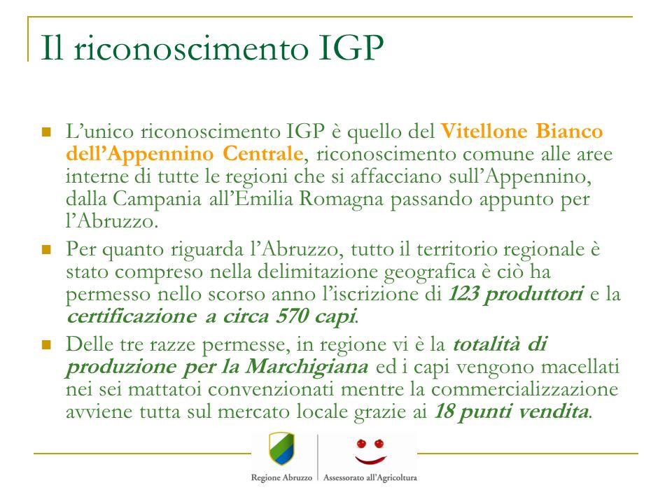 Il riconoscimento IGP Lunico riconoscimento IGP è quello del Vitellone Bianco dellAppennino Centrale, riconoscimento comune alle aree interne di tutte
