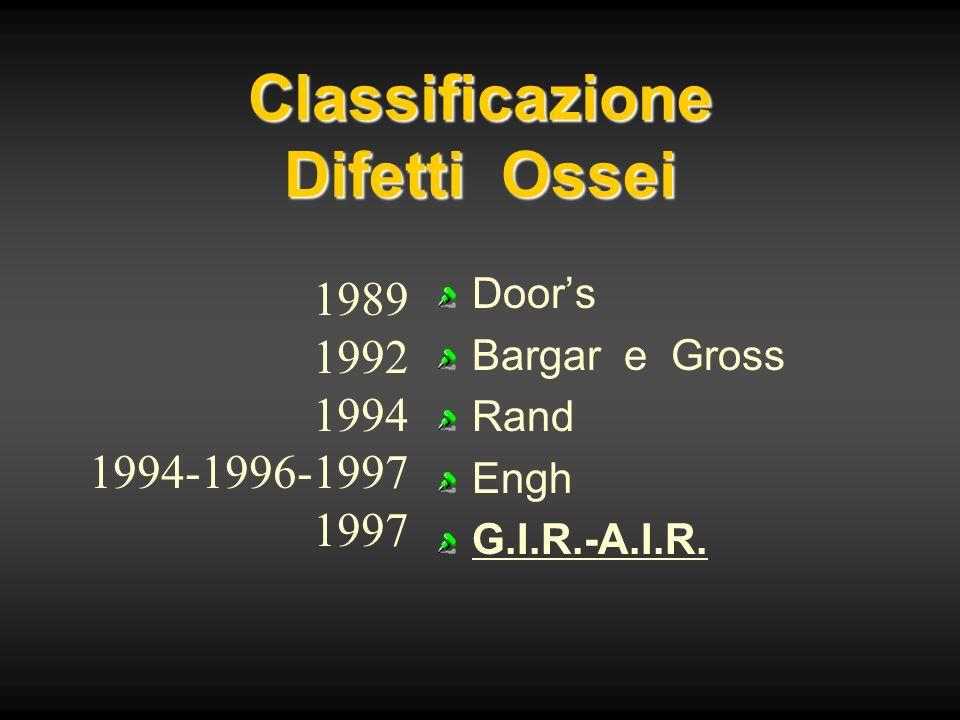 Classificazione Difetti Ossei Doors Bargar e Gross Rand Engh G.I.R.-A.I.R. 1989 1992 1994 1994-1996-1997 1997