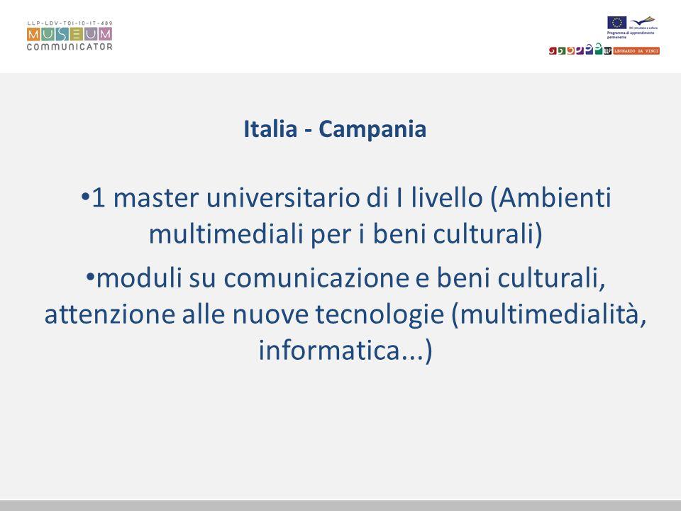 Italia - Campania 1 master universitario di I livello (Ambienti multimediali per i beni culturali) moduli su comunicazione e beni culturali, attenzion