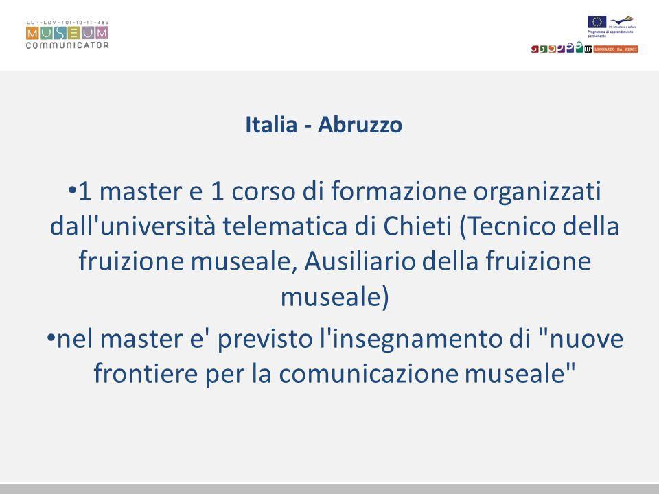Italia - Abruzzo 1 master e 1 corso di formazione organizzati dall'università telematica di Chieti (Tecnico della fruizione museale, Ausiliario della