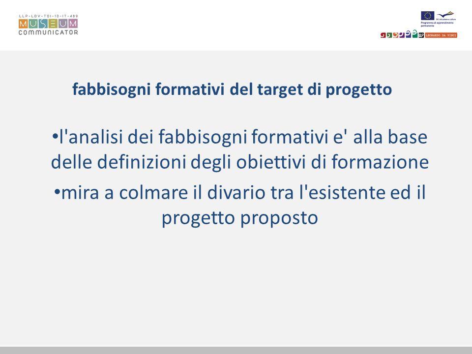fabbisogni formativi del target di progetto l'analisi dei fabbisogni formativi e' alla base delle definizioni degli obiettivi di formazione mira a col