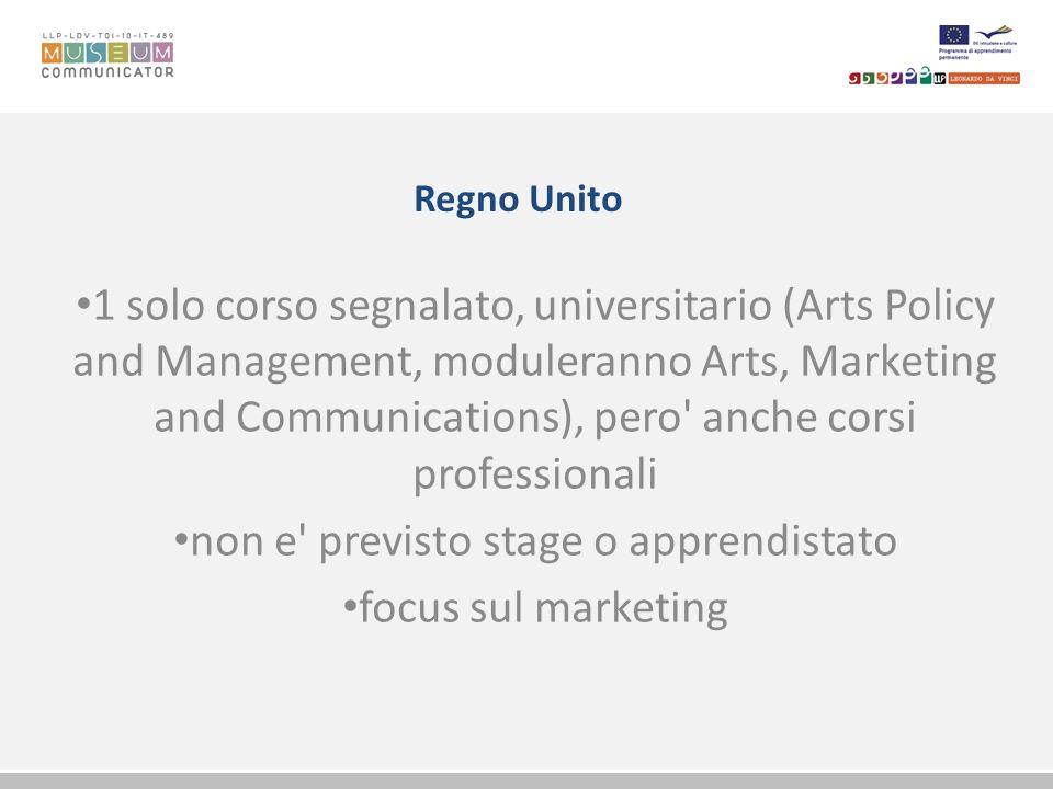 Italia - Toscana 2 master universitari (Comunicazione del patrimonio culturale e Tutela e gestione di musei e collezioni di beni naturalistici e storico-scientifici); 2 corsi di formazione universitari (Comunicazione museale e promozione marketing, Progettare il museo.