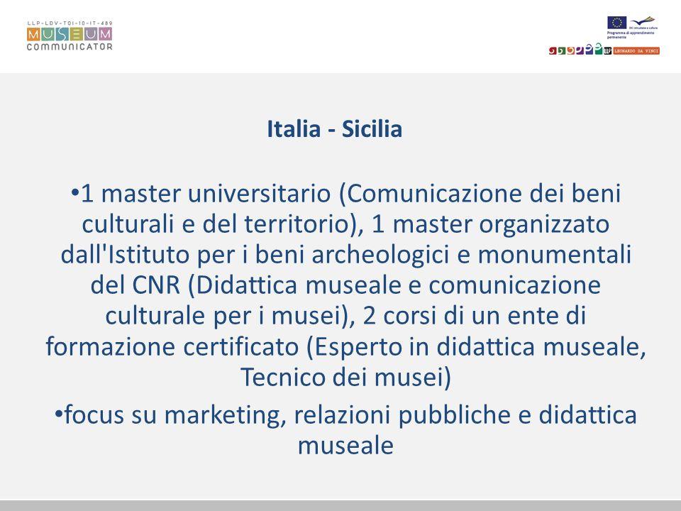 Italia - Puglia 1 master del consorzio universitario (Nuove tecnologie per la valorizzazione del patrimonio culturale e museale) moduli su comunicazione e marketing dei beni culturali, su tecnologie della comunicazione e dell informazione
