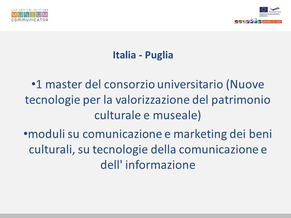 Italia - Puglia 1 master del consorzio universitario (Nuove tecnologie per la valorizzazione del patrimonio culturale e museale) moduli su comunicazio
