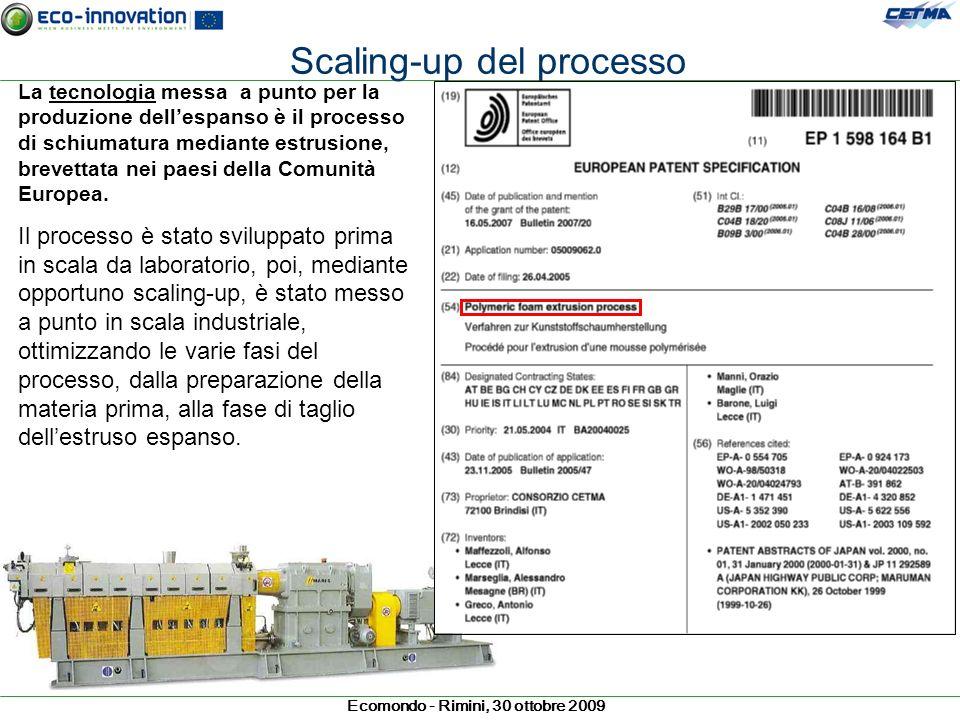 Ecomondo - Rimini, 30 ottobre 2009 La tecnologia messa a punto per la produzione dellespanso è il processo di schiumatura mediante estrusione, brevett