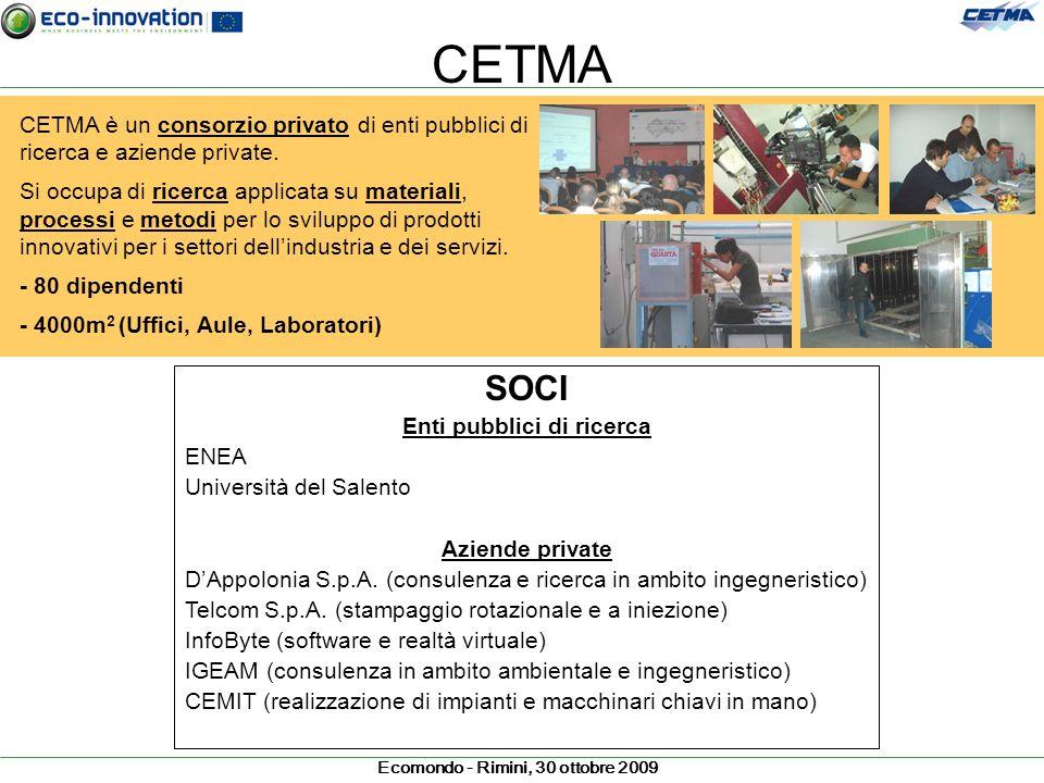 Ecomondo - Rimini, 30 ottobre 2009 CETMA CETMA è un consorzio privato di enti pubblici di ricerca e aziende private. Si occupa di ricerca applicata su