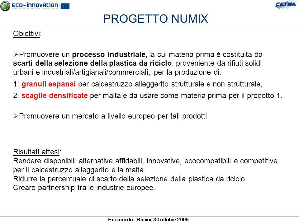 Ecomondo - Rimini, 30 ottobre 2009 PROGETTO NUMIX Obiettivi: Promuovere un processo industriale, la cui materia prima è costituita da scarti della sel