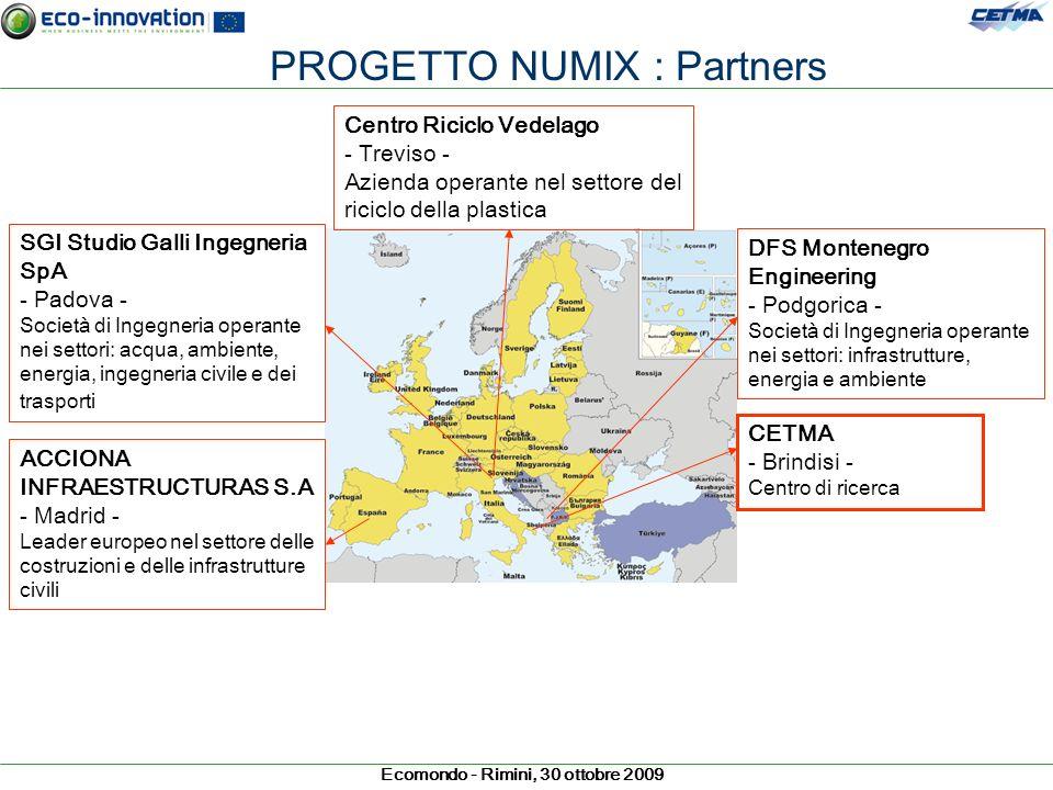 Ecomondo - Rimini, 30 ottobre 2009 PROGETTO NUMIX : Partners CETMA - Brindisi - Centro di ricerca Centro Riciclo Vedelago - Treviso - Azienda operante