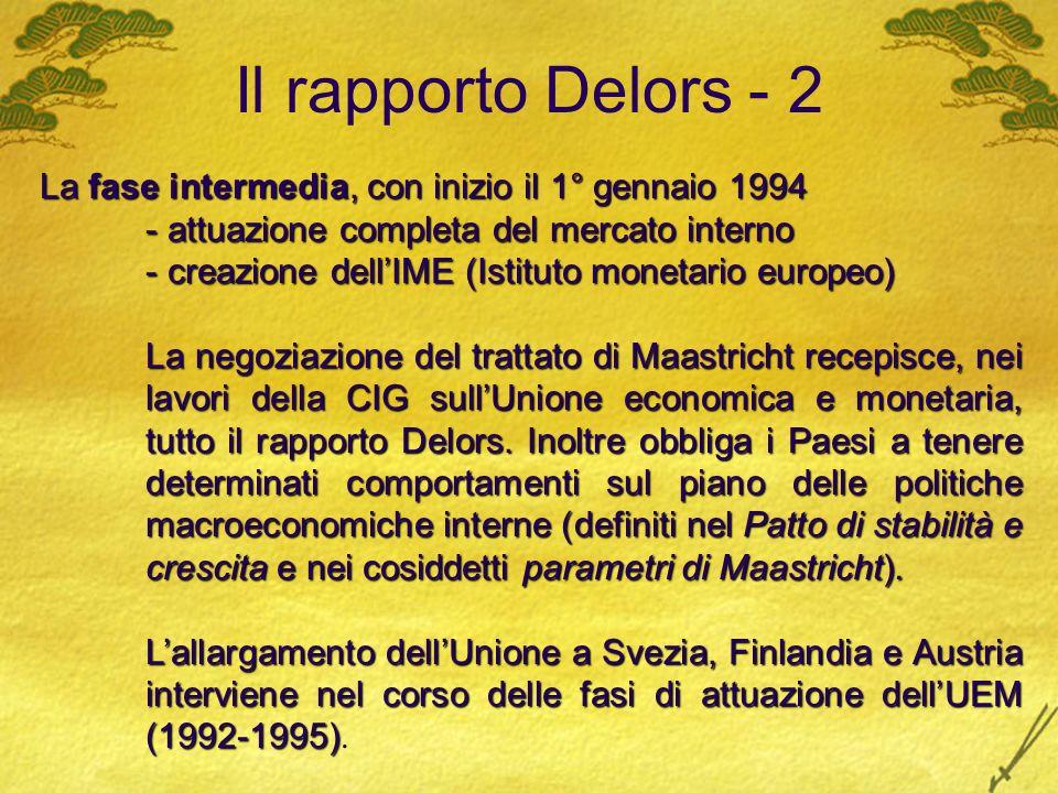 Il rapporto Delors - 2 La fase intermedia, con inizio il 1° gennaio 1994 - attuazione completa del mercato interno - creazione dellIME (Istituto monet