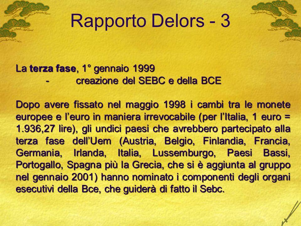 Rapporto Delors - 3 La terza fase, 1° gennaio 1999 -creazione del SEBC e della BCE Dopo avere fissato nel maggio 1998 i cambi tra le monete europee e