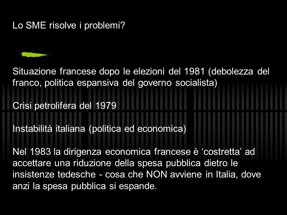 Lo SME risolve i problemi? Situazione francese dopo le elezioni del 1981 (debolezza del franco, politica espansiva del governo socialista) Crisi petro