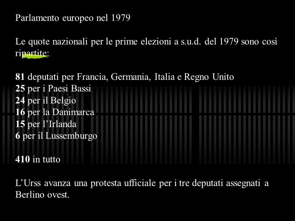Parlamento europeo nel 1979 Le quote nazionali per le prime elezioni a s.u.d. del 1979 sono così ripartite: 81 deputati per Francia, Germania, Italia