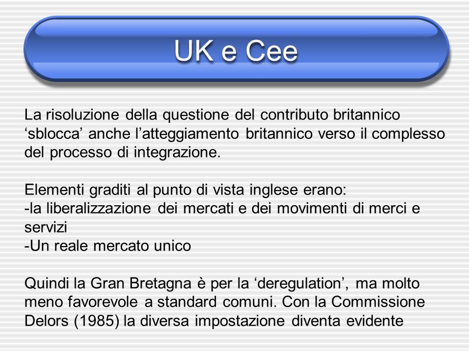 UK e Cee 1985 - Ruolo di Cockfield (commissario per lattuazione del mercato unico) Abbattimento delle barriere improprie, in pieno accordo con Delors Quando la Commissione, in accordo con la Corte di Giustizia, avvia un poderoso lavoro di messa a norma Cee di tutte le regole di fabbricazione europee, la Gran Bretagna non ci sta (soprattutto per quanto riguarda larmonizzazione dei regimi fiscali europei)