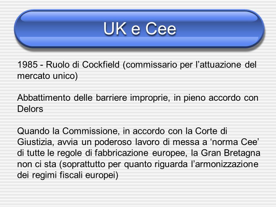 UK e Cee 1985 - Ruolo di Cockfield (commissario per lattuazione del mercato unico) Abbattimento delle barriere improprie, in pieno accordo con Delors