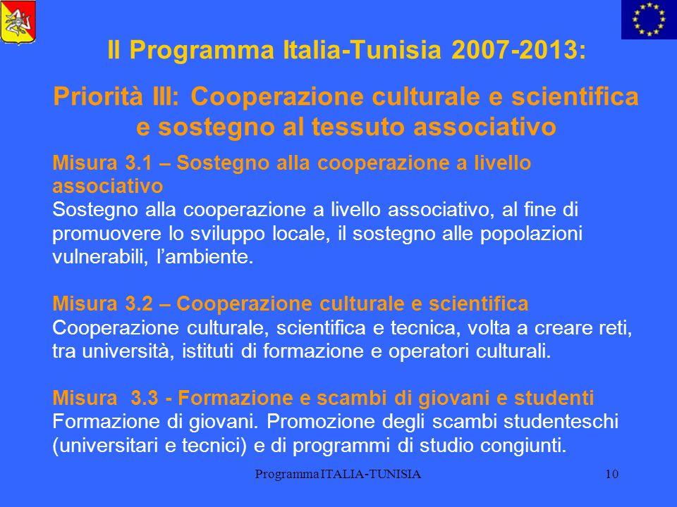 Programma ITALIA-TUNISIA10 Il Programma Italia-Tunisia 2007-2013: Priorità III: Cooperazione culturale e scientifica e sostegno al tessuto associativo