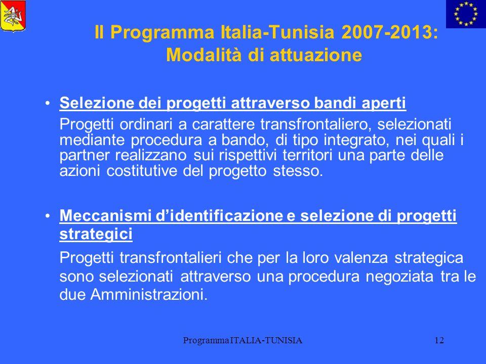 Programma ITALIA-TUNISIA12 Il Programma Italia-Tunisia 2007-2013: Modalità di attuazione Selezione dei progetti attraverso bandi aperti Progetti ordin