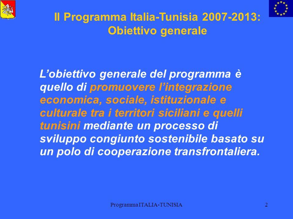 Programma ITALIA-TUNISIA2 Il Programma Italia-Tunisia 2007-2013: Obiettivo generale Lobiettivo generale del programma è quello di promuovere lintegraz