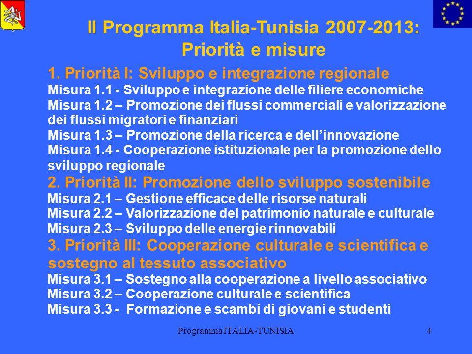 Programma ITALIA-TUNISIA4 Il Programma Italia-Tunisia 2007-2013: Priorità e misure 1. Priorità I: Sviluppo e integrazione regionale Misura 1.1 - Svilu