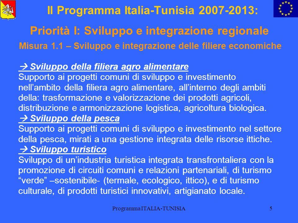 Programma ITALIA-TUNISIA6 Il Programma Italia-Tunisia 2007-2013: Misura 1.2 – Promozione dei flussi commerciali e valorizzazione dei flussi migratori e finanziari Facilitazione dei flussi commerciali Valorizzazione dei punti di contatto frontalieri al fine di migliorare la gestione dei flussi e facilitare la circolazione delle merci (cooperazione tra autorità portuali, etc) Valorizzazione dei flussi migratori e finanziari Valorizzazione dei flussi migratori e finanziari per lo sviluppo del potenziale di opportunità socio-economiche delle regioni (trasferimento di know-how, investimento produttivo delle riserve, degli emigranti, etc) Priorità I: Sviluppo e integrazione regionale