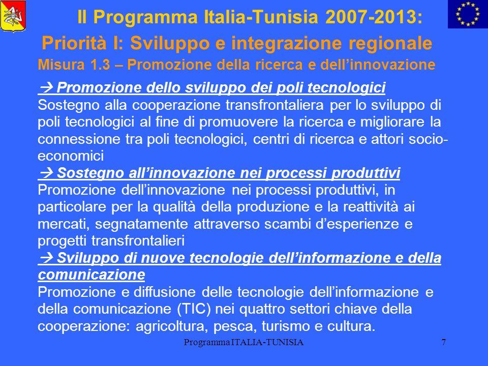 Programma ITALIA-TUNISIA8 Il Programma Italia-Tunisia 2007-2013: Misura 1.4 – Cooperazione istituzionale per la promozione dello sviluppo regionale Promozione della competitività e diversificazione economica delle regioni, per lo scambio di esperienze a livello degli strumenti di politica territoriale, del sostegno alla capacità di sviluppo regionale, dello scambio tra le Camere di commercio e i centri daffari.