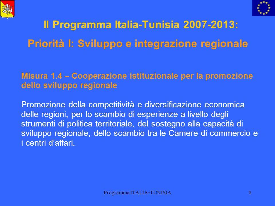 Programma ITALIA-TUNISIA9 Il Programma Italia-Tunisia 2007-2013: Misura 2.1 – Gestione efficace delle risorse per lagricoltura e la pesca Assicurare unagricoltura e un utilizzo delle risorse ittiche che rispettino lo sviluppo sostenibile, per attività comuni di monitoraggio ambientale, etc.