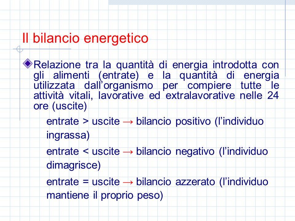 Relazione tra la quantità di energia introdotta con gli alimenti (entrate) e la quantità di energia utilizzata dallorganismo per compiere tutte le att