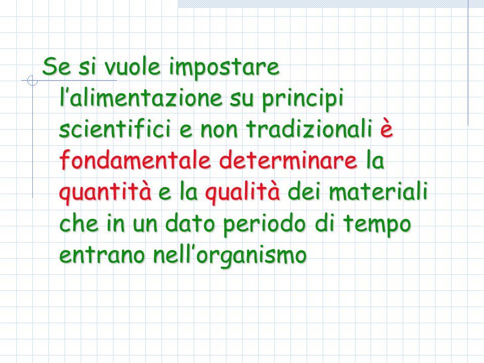 Se si vuole impostare lalimentazione su principi scientifici e non tradizionali è fondamentale determinare la quantità e la qualità dei materiali che