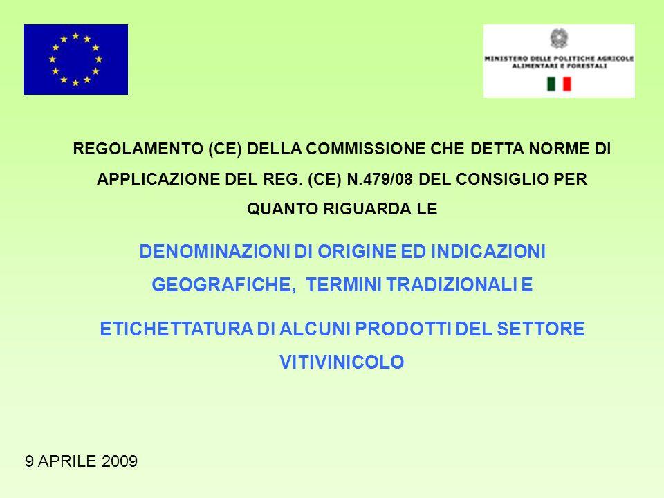 REGOLAMENTO (CE) DELLA COMMISSIONE CHE DETTA NORME DI APPLICAZIONE DEL REG. (CE) N.479/08 DEL CONSIGLIO PER QUANTO RIGUARDA LE DENOMINAZIONI DI ORIGIN