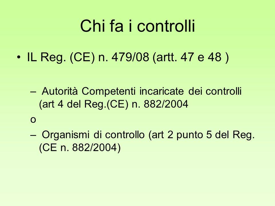 Chi fa i controlli IL Reg. (CE) n. 479/08 (artt. 47 e 48 ) – Autorità Competenti incaricate dei controlli (art 4 del Reg.(CE) n. 882/2004 o – Organism