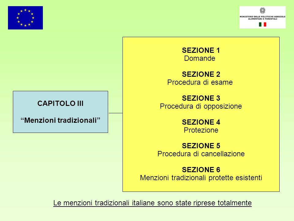 Le menzioni tradizionali italiane sono state riprese totalmente CAPITOLO III Menzioni tradizionali SEZIONE 1 Domande SEZIONE 2 Procedura di esame SEZI