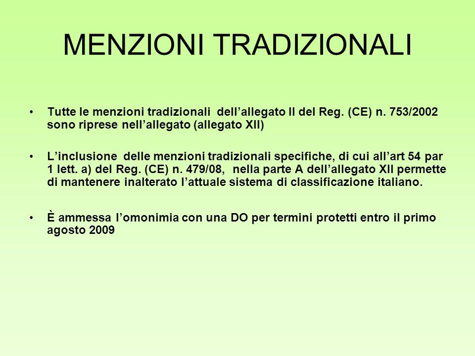 MENZIONI TRADIZIONALI Tutte le menzioni tradizionali dellallegato II del Reg. (CE) n. 753/2002 sono riprese nellallegato (allegato XII) Linclusione de
