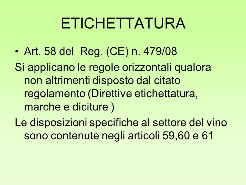 ETICHETTATURA Art. 58 del Reg. (CE) n. 479/08 Si applicano le regole orizzontali qualora non altrimenti disposto dal citato regolamento (Direttive eti