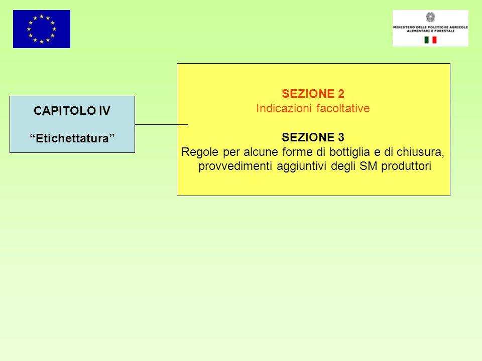 CAPITOLO IV Etichettatura SEZIONE 2 Indicazioni facoltative SEZIONE 3 Regole per alcune forme di bottiglia e di chiusura, provvedimenti aggiuntivi deg