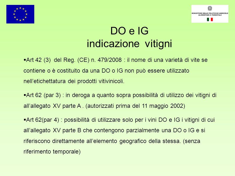 DO e IG indicazione vitigni Art 42 (3) del Reg. (CE) n. 479/2008 : il nome di una varietà di vite se contiene o è costituito da una DO o IG non può es