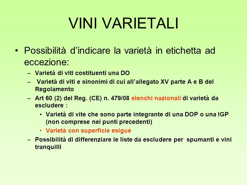 VINI VARIETALI Possibilità dindicare la varietà in etichetta ad eccezione: –Varietà di viti costituenti una DO – Varietà di viti e sinonimi di cui all