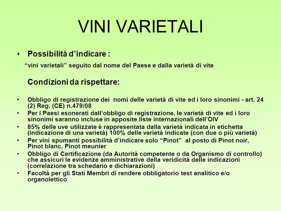 VINI VARIETALI Possibilità dindicare : vini varietali seguito dal nome del Paese e dalla varietà di vite Condizioni da rispettare: Obbligo di registra