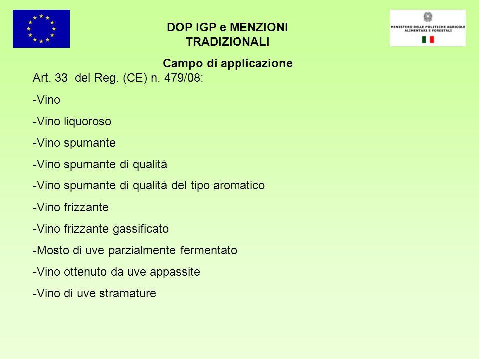 DOP IGP e MENZIONI TRADIZIONALI Campo di applicazione Art. 33 del Reg. (CE) n. 479/08: -Vino -Vino liquoroso -Vino spumante -Vino spumante di qualità